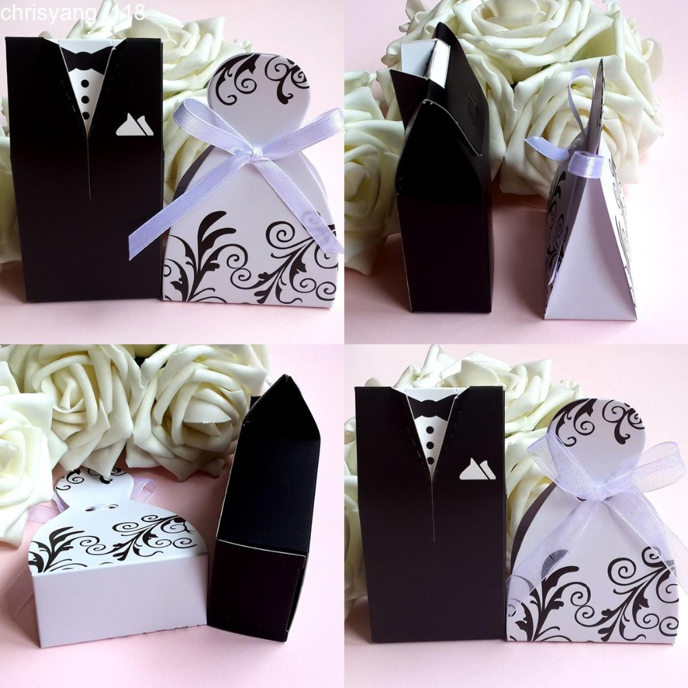 Gift Cases Groom Tuxedo Dress Gown Ribbon Wedding Favor Candy Box ...