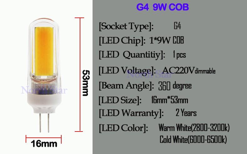 G4 G9 E14 COB LED 55