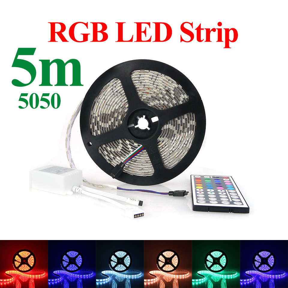 Hot Sale RGB LED Strip 5M/Roll 60LED/M LED Strips SMD5050 Waterproof Safe LED Bar Light+44Key IR Remote Controller RoHS CE(China (Mainland))