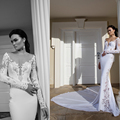 2015 Sheer Lace Long Sleeves Mermaid Wedding Dress Backless Cathedral Long Train Couture Tulle Wedding Gowns