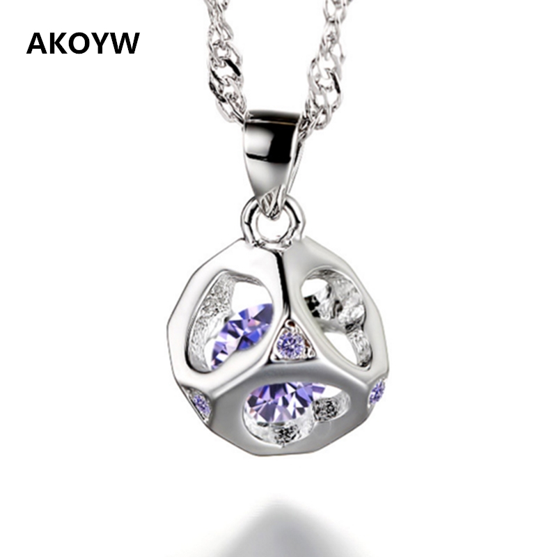 2016 new Silver plated love cube, Ms. Love love pendant shaped hollow crystal pendant purple white high quality brand jewelry(China (Mainland))