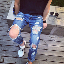 Fashion 2016 new ripped skinny jeans mens personality rock style jean pant slim skinny pants mens distressed jeans ripped(China (Mainland))