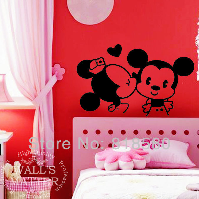 and minnie mouse vinyl wall art stickers wall decals 90 x 55cm in wall