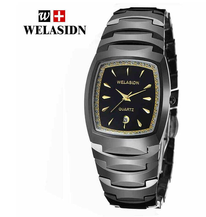 Welasidn Brand Black Tungsten Steel Watches Men Luxury Brand Men Wristwatches High Quality Casual Watch W5231B+Original box<br><br>Aliexpress
