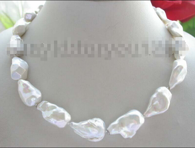 shipping Luster 18 Genuine Natural 30mm White Reborn Keshi pearl Necklace 14k<br><br>Aliexpress