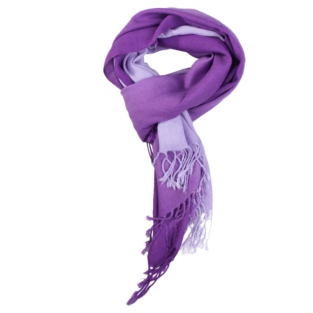 Gradient Color Woman Tassel Scarf Lady Warp Shawl Wool Spinning Trendy Scarves High Quality(China (Mainland))