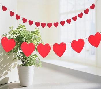 3 meter heart love letter nonwovens fabric Flag Party bell garland Decoration Banner Bunting for wedding event
