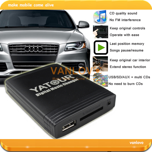 YATOUR Digital Music Changer AUX SD USB MP3 Interface for Audi Concert II+ Chorus II+ Symphony II+ RNS-E(China (Mainland))