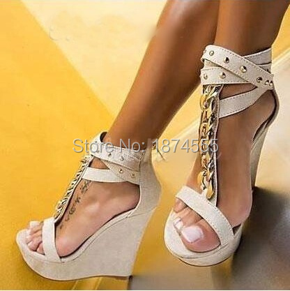 Free Shipping New Women High Heel Chains Sandals Gladiator T-strap Summer Shoes Women Wedge Sandal Shoes Platform Lady Shoes(China (Mainland))