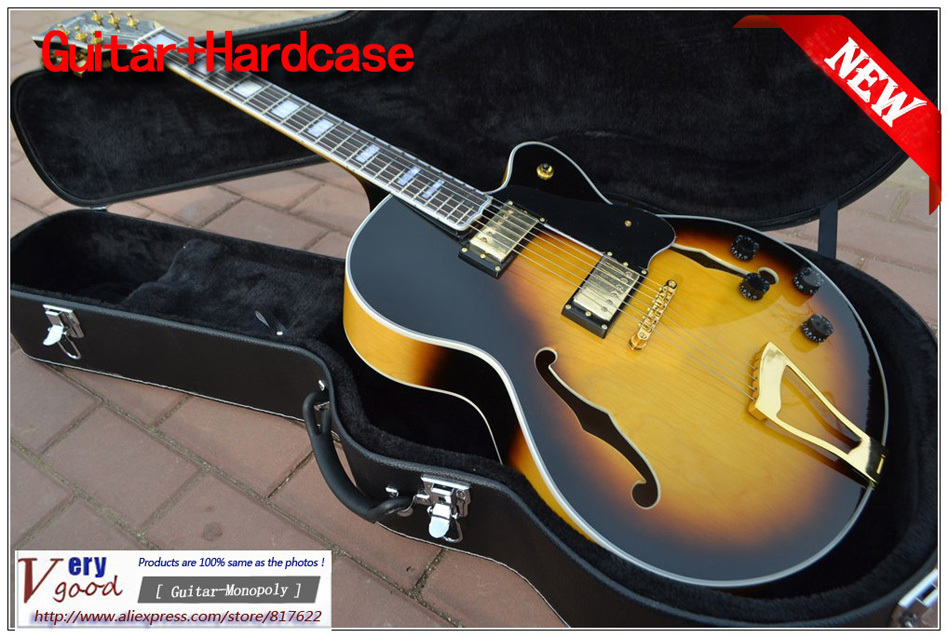 New! Sunburst maple flat top, hollow guitar, L5 jazz Electric Guitar With hard case free shipping<br><br>Aliexpress