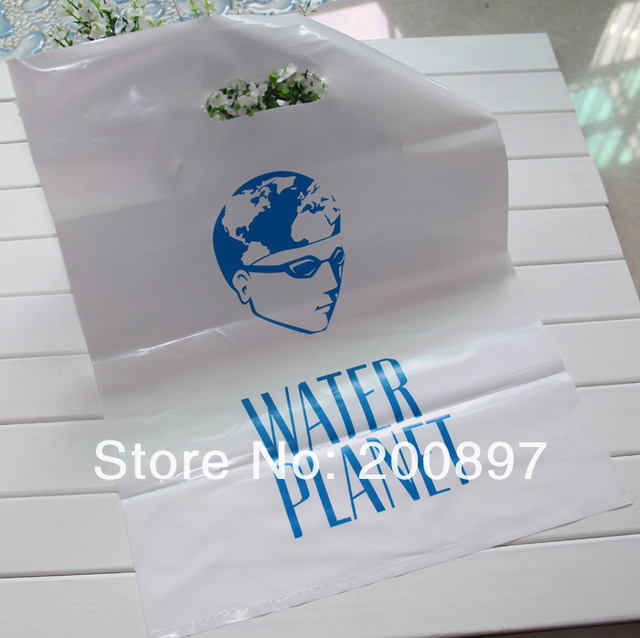 Custom print shopping polybag punch handle clothes or cosmetics gift bag white or black single color logo 500pcs min order