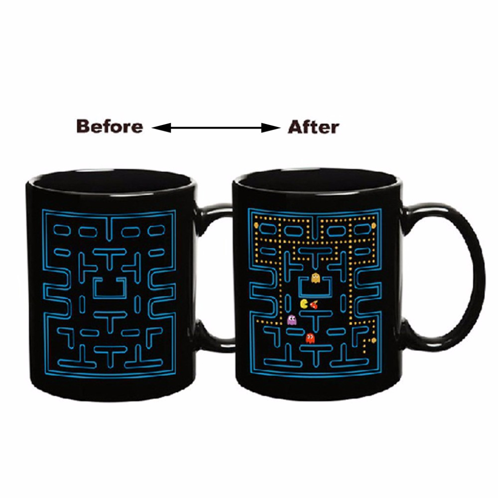 Creative High Quality Magic Color Changing Cup Coffee Tea Milk Mug Pac-Man Bandai Namco Video Game Heat Activated Change Cup(China (Mainland))