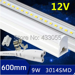 Sample! led tube t5 600mm/60cm 8w 9w 12v led tube light 12v led solar tube lamp solar t5 integrated fluorescent tube(China (Mainland))
