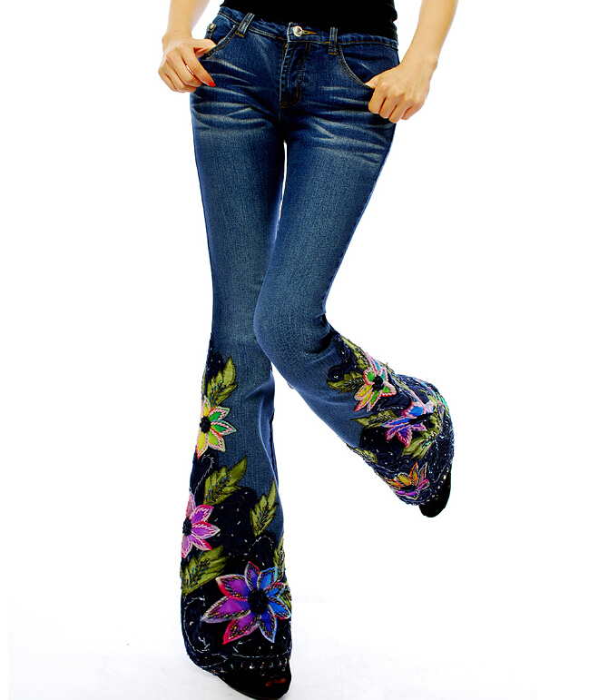 New 2015 summer fashion womens chinese style national embroidery handmade beading denim pants slim hip vintage jeans D3625Одежда и ак�е��уары<br><br><br>Aliexpress