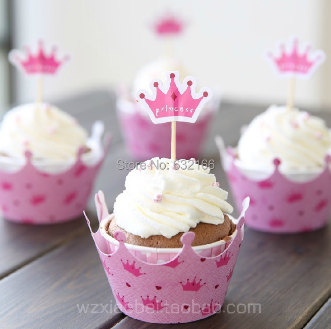 pink princess crown cake toppers picks baby girl party birthday decorations supplies shower cupcake wrappers - Sweet store