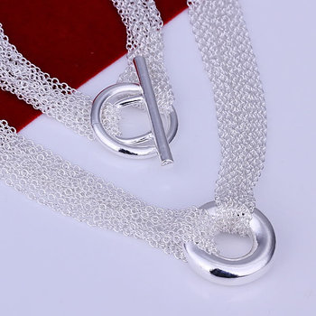N003 high quality! free shipping wholesale 925 silver necklace, 925 silver fashion jewelry Mesh Shape O Necklace