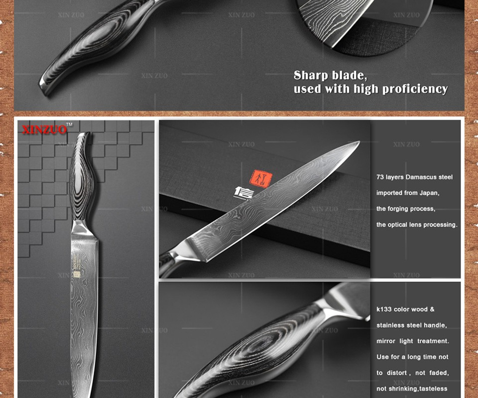 """Buy 8""""cleaver knife Japanese VG10 Damascus steel kitchen knife prefessional chef sashimi slicing knife wood handle FREE SHIPPING cheap"""
