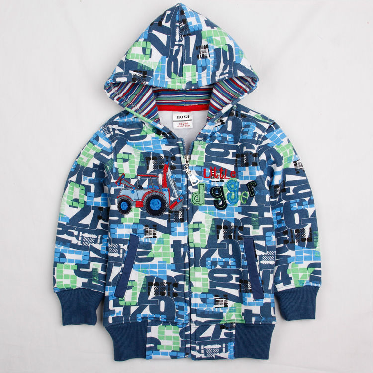 Free shipping Nova 18m-6y A2905# 2013 fashion baby boys warm coat winter spring hoodies with letters printed cute casual sweater<br><br>Aliexpress