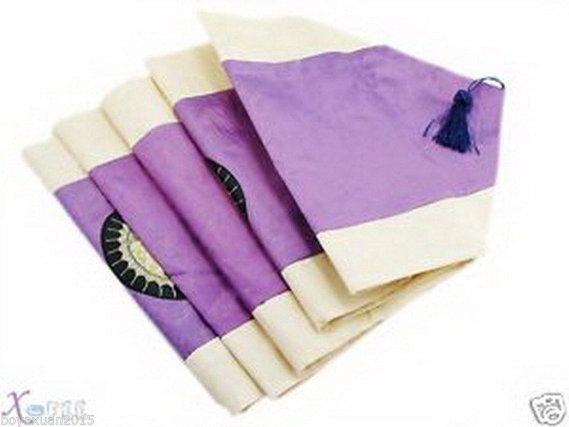 new /  runner Purple Embroidered New patterns Runner Patterns Silk Table Flowers table