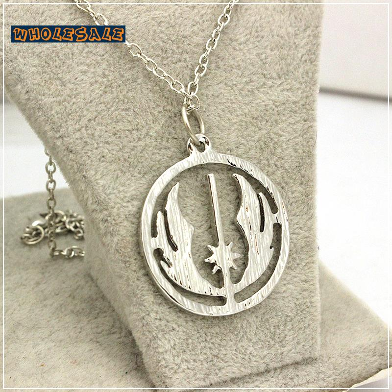 Star Wars Necklace Movie Jewellery Jedi Order Pendant Silver Plated Cool Jewelry 100pcs/Lot Wholesale Fashion(China (Mainland))