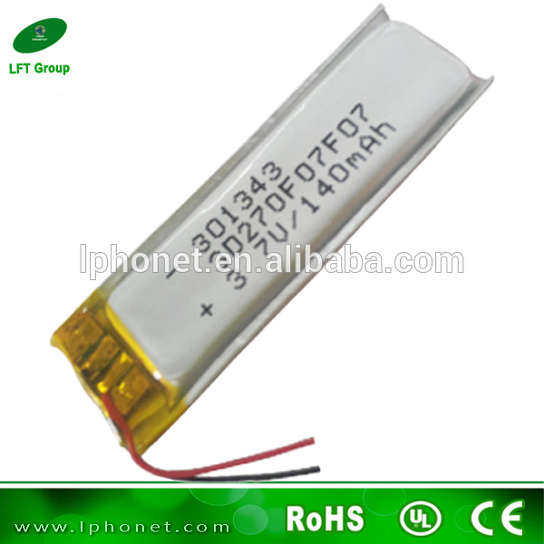 301343 li ion polymer battery 140mah li polymer battery bluetooth battery on. Black Bedroom Furniture Sets. Home Design Ideas