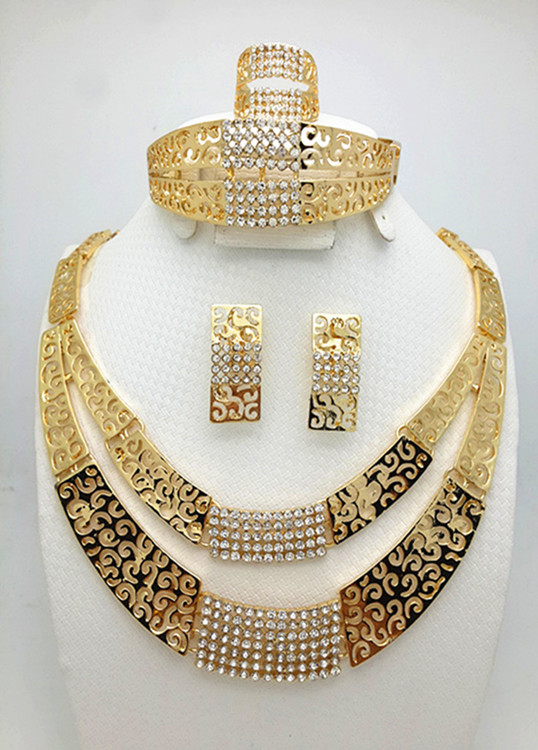 2016 Handmade Dubai Gold Plated Jewelry Sets 18K Fashion Big Nigerian Wedding African Jewelry Sets Costume Dubai For Women(China (Mainland))