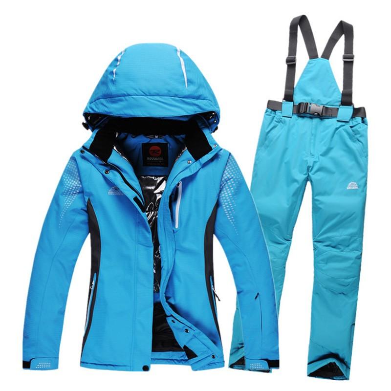 Hiver chaud femmes costumes de ski imperméable respirant femme en plein air ski snowboard veste et pantalon ensemble femme planche à neige pantalon(China (Mainland))