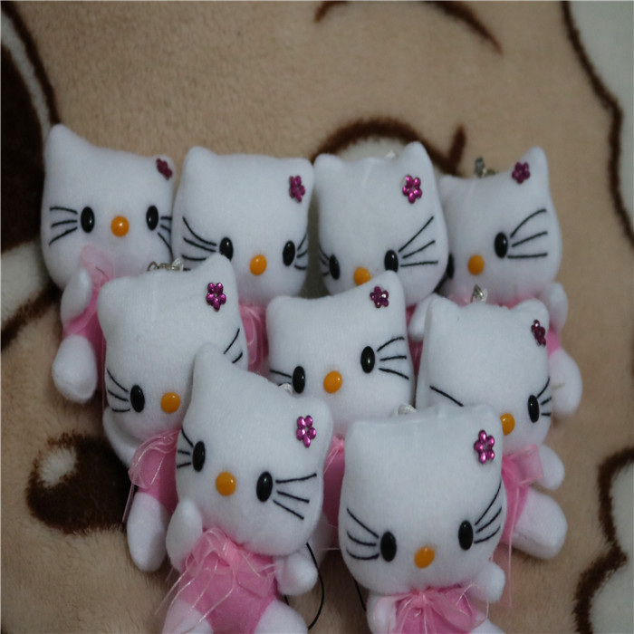 New hello kitty plush toy Gift doll mobile phone Pendant about 7cm size Xmas Gift Toy 15pc(China (Mainland))
