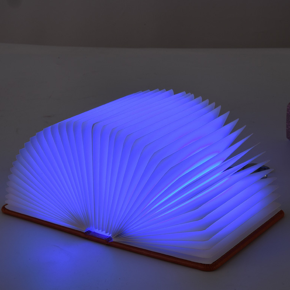 Top Quality Push Button Type Turn The Page Five-color Book Lamp Nightlight USB Charging LED Folding Book Lamp Lasts up to 50000H(China (Mainland))