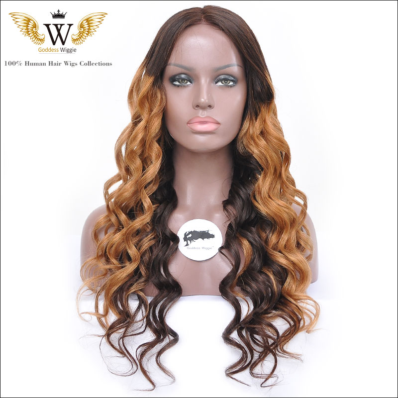 200 Density Brazilian Wavy Ombre Curly Lace Front Wig/Glueless Ombre Full Lace Curly Human Hair Wigs/U Part Human Hair Wigs<br><br>Aliexpress