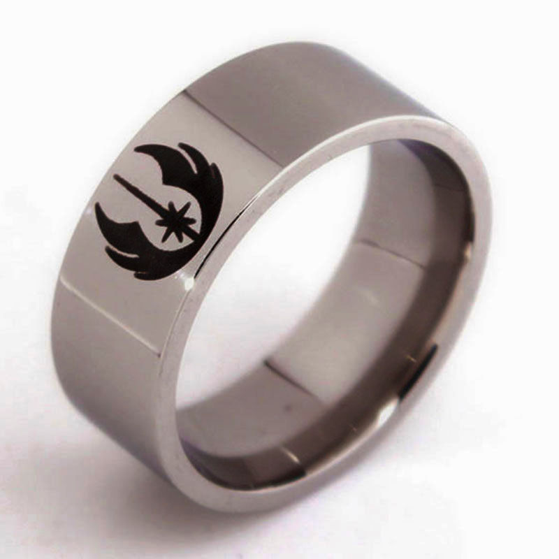 Movie Star Wars ring Jedi Symbol men lord of the ringsMen jewelry hand decorated titanium steel