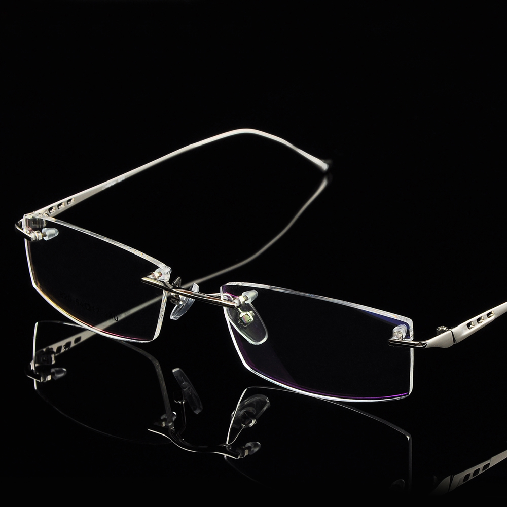 Men rimless eyeglasses frame titanium alloy rimless ...