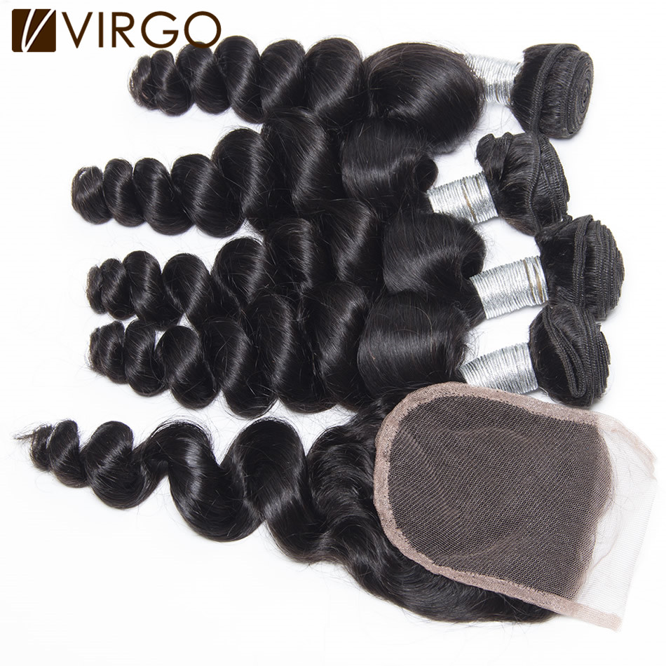 Aliexpress UK Rosa Hair Products With Closure Loose Wave Indian Virgin Hair 3pcs With Silk Lace Closure King India Human Hair<br>