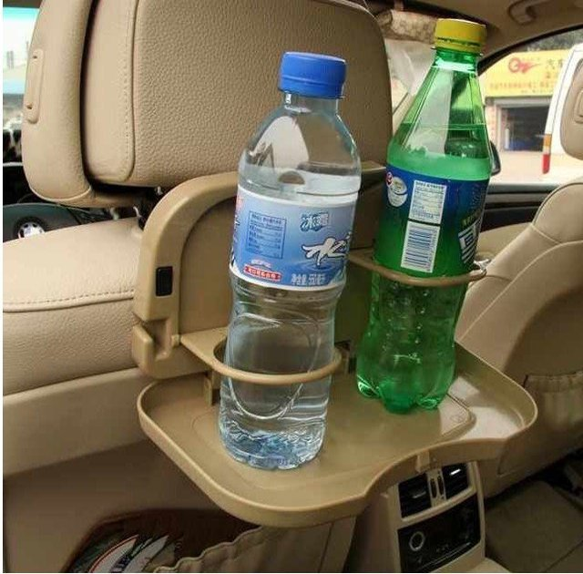 free shipping 20ps/lot Multi-function rear seat drink holder / car table / water cup holder / rack gray debris