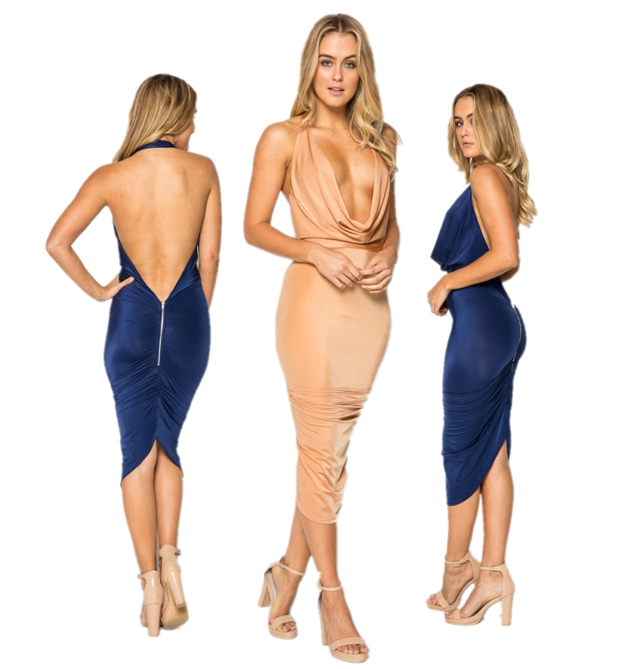 Sexy Women Cowl Neck Open Back Backless Rushed Bodycon Pencil Formal Club Party Dresses Summer Dress(China (Mainland))