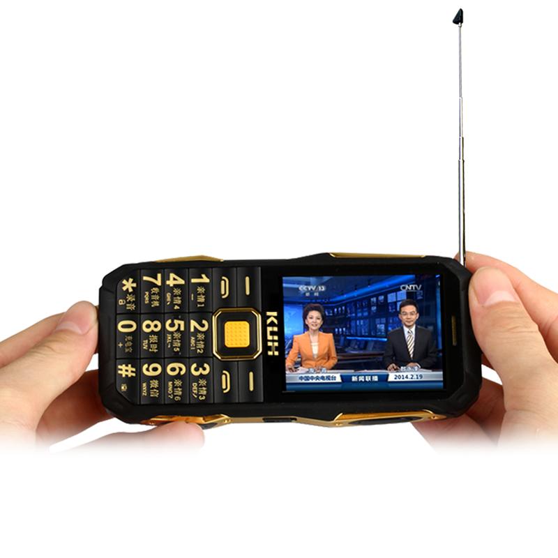 KUH T6+ flashlight wireless FM radio 4000mAh long standby dual SIM card mp3 mp4 power bank Analog TV rugged mobile phone P072(China (Mainland))