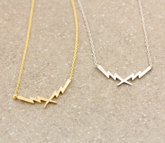 18K Gold and Silver Thunder Lightning Bolt Pendant Necklace --12pcs/lot ( 2 Colors Free Collocation )(China (Mainland))