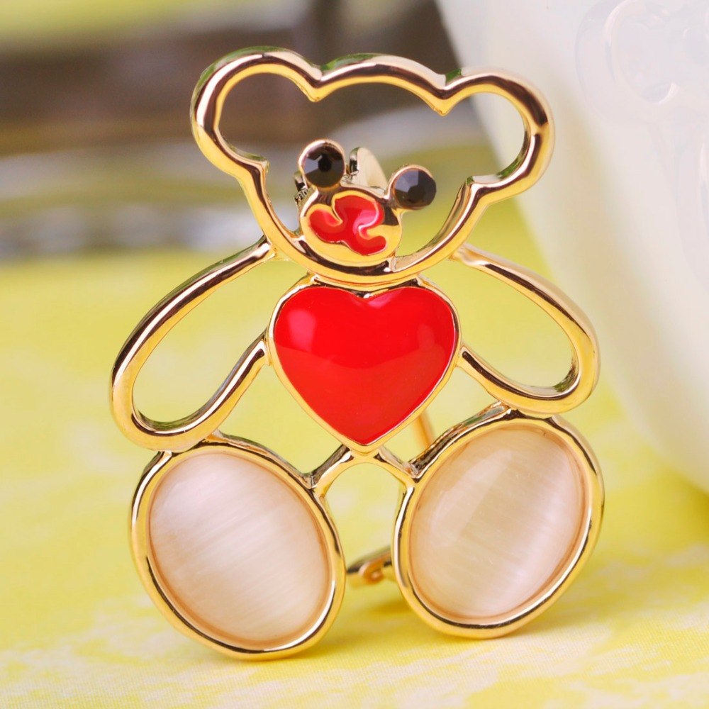 Hot sale wholesale (6 pcs) love ceramic heart cute bear brooches for wedding dresses women with rhinestone crystal brooch pins(China (Mainland))