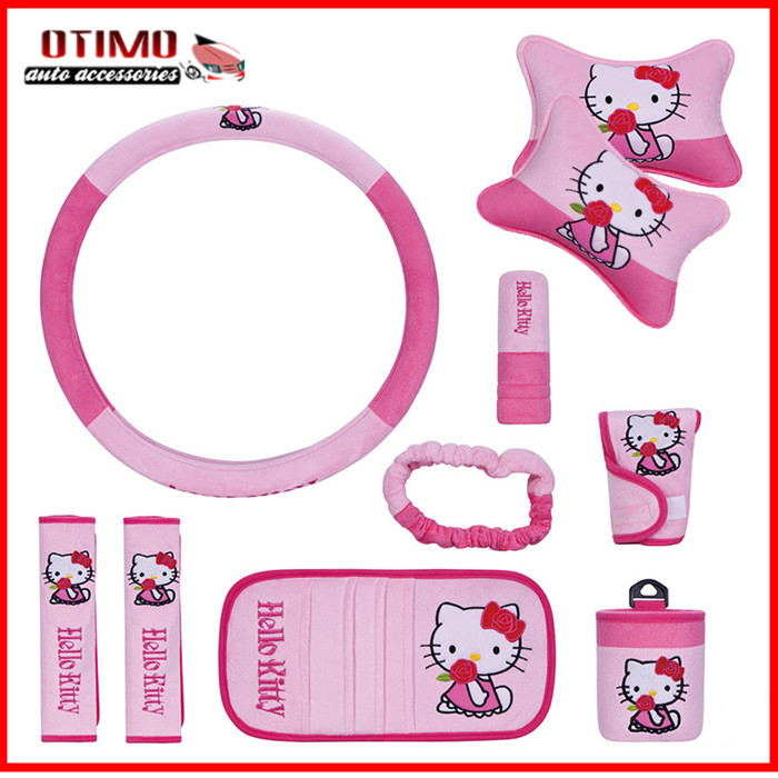 10Pcs/Set Funny Hello Kitty Car Accessories Seat Covers Cat Universal Interior Lada Kalina Skoda - OMRICO Store store