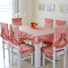 13PCS Simple Lattice Coffee Table Cloth Dining Chair Cover Sets 100% Cotton Washable Mat (China (Mainland))