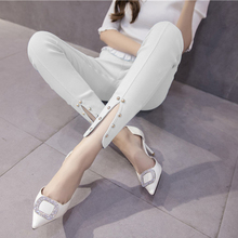 Buy trousers split nail bead tall waist leggings spring new han edition fashion pure color thin leggings for $16.99 in AliExpress store