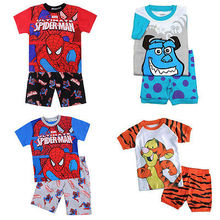 Kids Boys  Pyjamas 2Pcs Short Sleeve  Nightwear 1-7(China (Mainland))