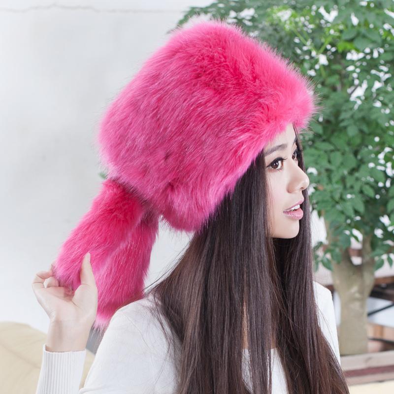 2015 Hot selling new arrival faux fox fur hats,Elegant fashion ladies snow hat Cute girls cartoon rabbit ear plush earflap caps(China (Mainland))