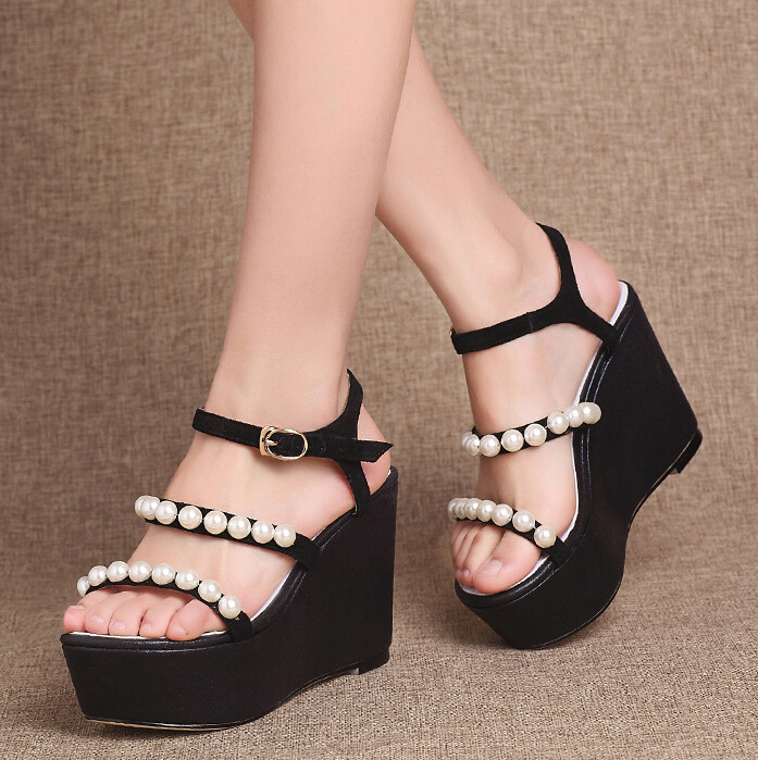 gladiator sandals women summer 2016 fashion lady 5cm high platform wedges black silver wedge heel beading leather party shoes