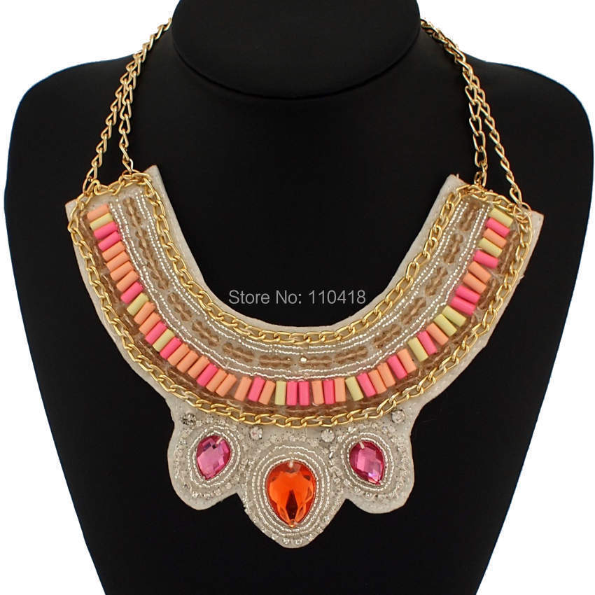 Statement Jewelry Costume Fake Collars Necklaces 2015 Fashion Gold Chain Candy Beads Rhinestones Chokers Women #1908(China (Mainland))