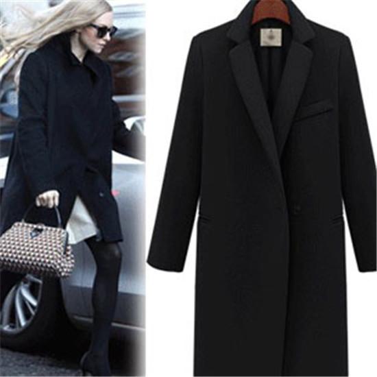 Новое поступление женщин с длинным искусственного шерстяное пальто черный и белый ...