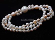 genuine 3strands 4-11mm cultured pearl bracelet