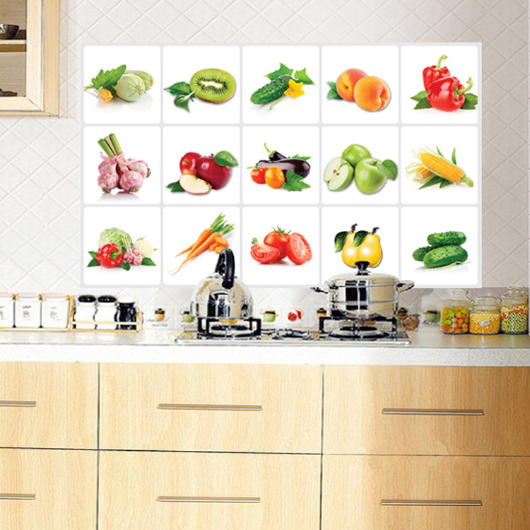 Wall stickers wholesale ay3019 oil paste vegetable fruit for Stickers para pared decorativos