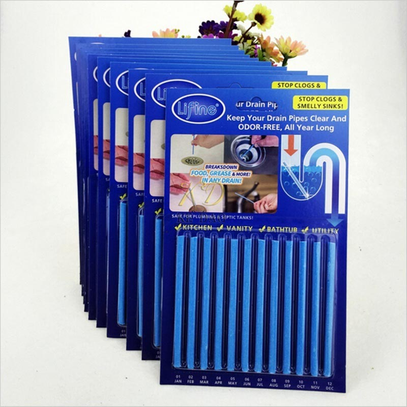 12pcs/Lot Portable Drain Cleaner Deodorizer Sani Sticks Kitchen Toilet Bathtub Sewage Decontamination Supplies 7z-bb050(China (Mainland))