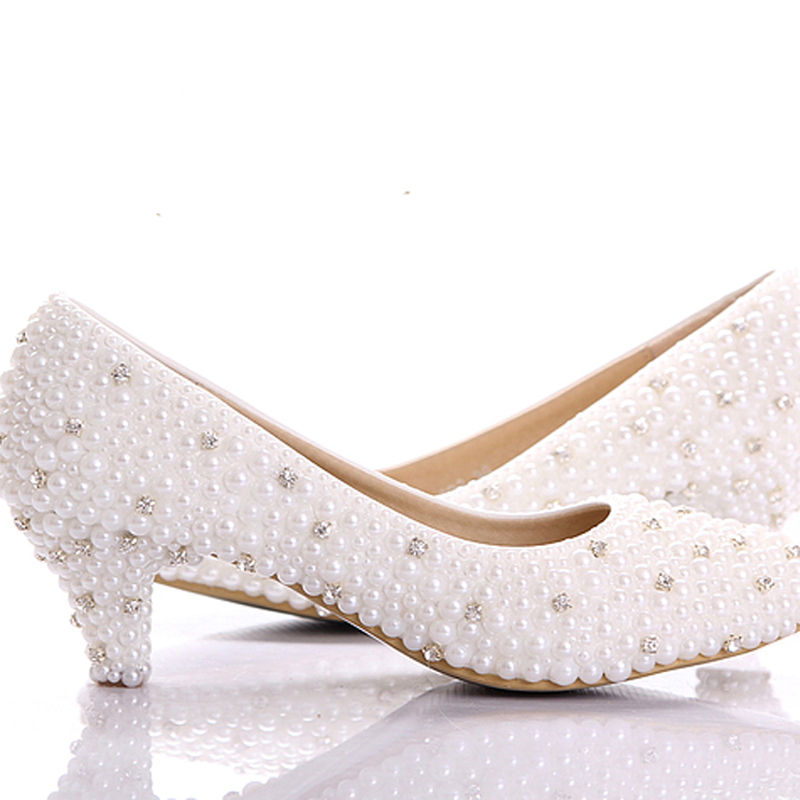 2015 Custom make large size small heel bridal wedding shoes white pearl Low heels shoes Celebrity Party Prom Dancing Shoes(China (Mainland))